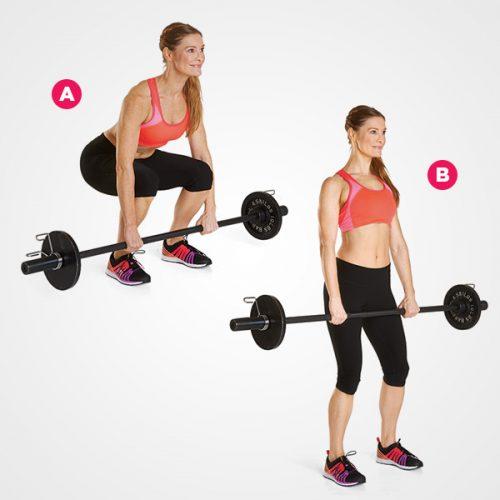 Первое упражнение: становая тяга штанги