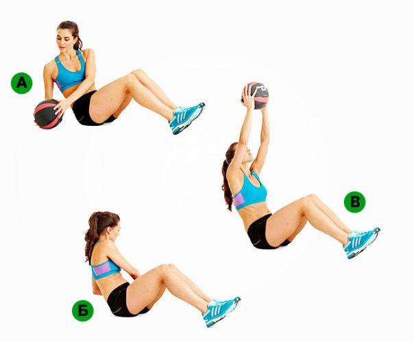 Скручивая с медицинским мячом (медболом) в положении сидя